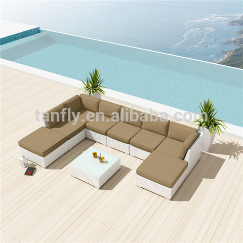 8 seater seaside house Patio Garden rattan corner sofa