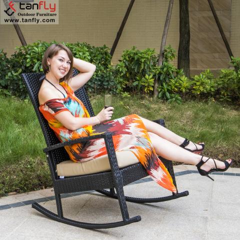 Comfortable Garden Furniture Metal Rattan Outdoor Rocking Recliner Chair