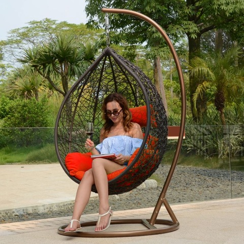 Household Rattan Outdoor Wicker Swing Chair With Cushion Stand Hanging Egg pictures & photos