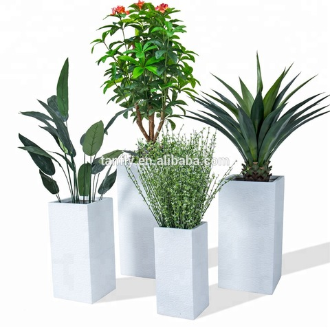 Lightweight Outdoor Concrete White Decorative Flower Pot