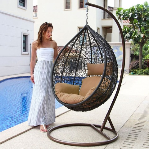 Modern Outdoor Furniture Outdoor Rattan Patio Wicker Swing Chair Hanging Egg