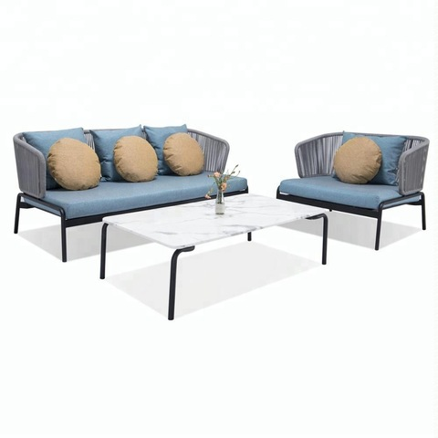 Outdoor 3 seater rope sofas set furniture with iron frame pictures & photos