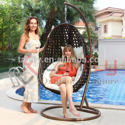 Patio Garden Indoor Outdoor Furniture Hanging Egg Shaped Wicker Swing Chair Hammock with Stand