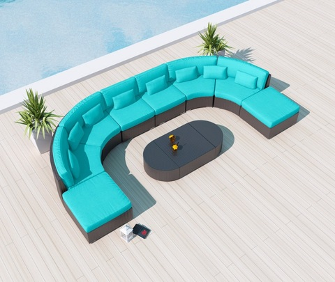 Patio Modular Sectional Couch Rattan Garden Furniture Outdoor Sofas