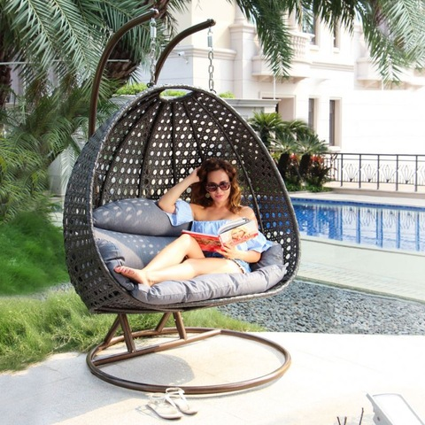Wicker Rattan Hanging Bird Nest Two Seat Double Adult Jhula Swing Chair pictures & photos