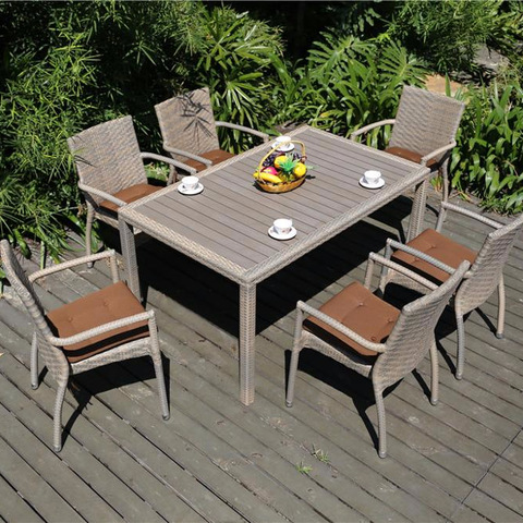Wooden Top Aluminum Frame Rattan Outdoor Patio Furniture Dining Chairs and Table Set pictures & photos
