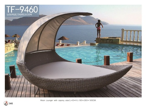rattan wicker furniture special design unique style moon shaped bulk lounger with canopy