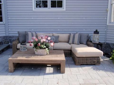 Luxury wicker rattan outdoor furniture garden wooden L shape sofa set furniture pictures & photos
