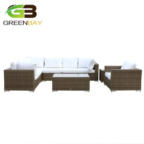 nice handmade brown fully assembled plastic rattan wicker garden furniture sectional patio sofa outd