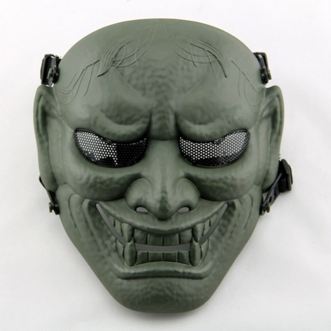 Hannya Fiberglass Double Belt Airsoft Paintball Protective Face Shield Tacticall Skull Face Mask Wholesale Respirators Masks Products On Tradees Com