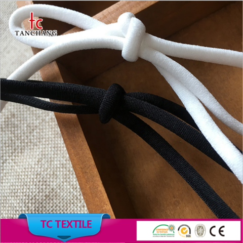 Wholesale 3mm Flat Round Elastic Cord For Mask Surgical Face Mask Bands Elastic Hair Band Tcyxs02 Wholesale Garment