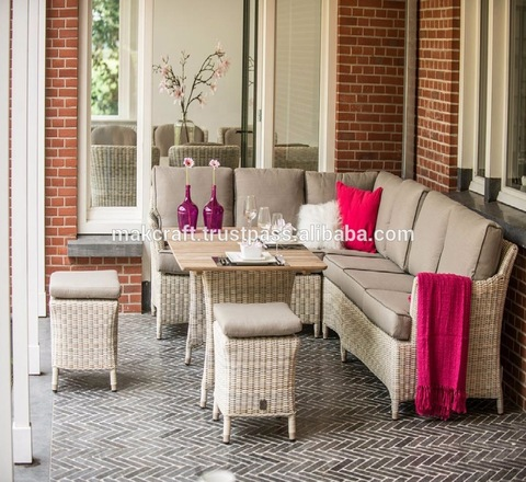 Lovely Decor Wicker Rattan PE rattan outdoor furniture garden lounge sectional l shape sofa set pictures & photos