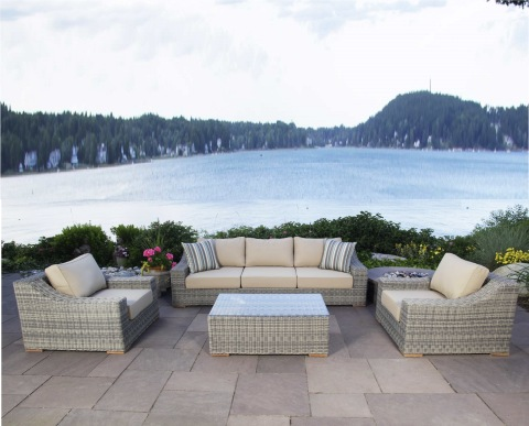 Luxury decoration synthetic wicker poly rattan outdoor garden sofa set patio furniture pictures & photos