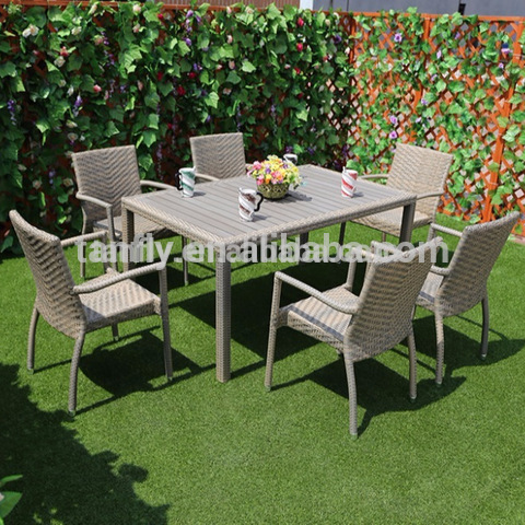 Wooden Top Aluminum Frame Rattan Outdoor Patio Furniture Dining Chairs and Table Set