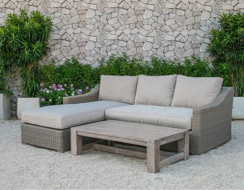 All weather wicker rattan wooden outdoor furniture garden L shape sofa set - Patio garden outdoor li