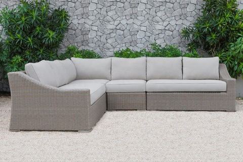 All Weather Poly Rattan Wicker Outdoor Sectional L Shape Chaise Lounge Corner Sofa Set Acacia Wooden pictures & photos