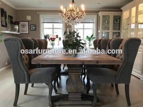 French Country Style Vintage Oak Wood 8 Seater Dining Table Set Wholesale Dining Tables Products On Tradees Com