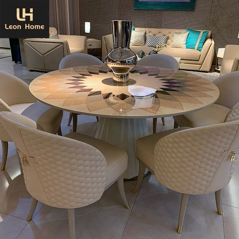Italian Latest Round Modern 6 Seater Table Set New Design Dining Table Set Wholesale Modern Furniture Products On Tradees Com