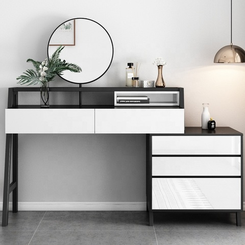 Concise Style Modern Bedroom Furniture Dresser White And Black Vanity Table Wholesale Dressers Products On Tradees Com
