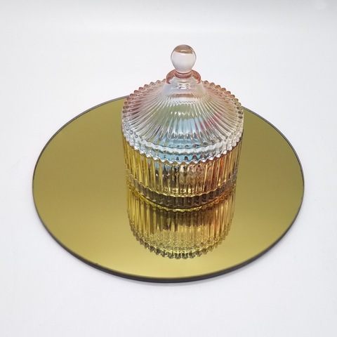 Home Table Decoration 5 8 10 12 Round Square Pentagon Mirror Glass Candle Plates Gold Color Wholesale Mirrors Products On Tradees Com