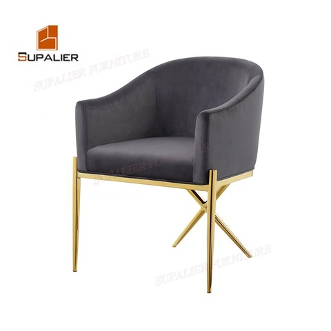House Gery Velvet Gold Stainless Steel Frame Dining Chairs Wholesale Modern Furniture Products On Tradees Com