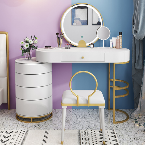 2020 Factory price stoving white stoving varnish Ins style Luxury makeup dressing table with lights makeup table