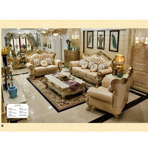 Foshan factory luxury royal design top leather sofa set pictures & photos