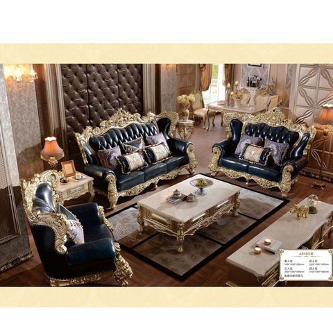 Foshan factory luxury royal design top leather sofa set