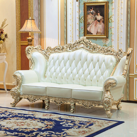 Luxurious classic wooden royal furniture designs sofa set golden pictures & photos