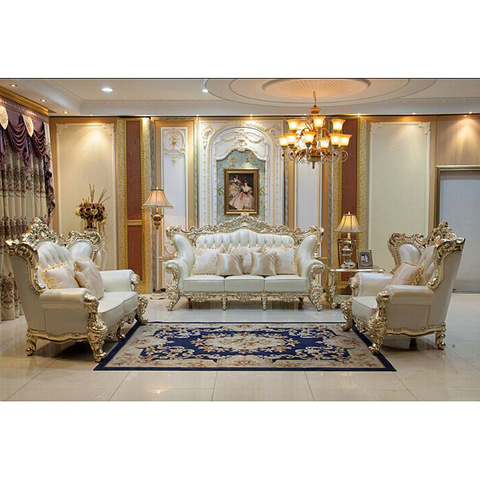 Luxurious classic wooden royal furniture designs sofa set golden