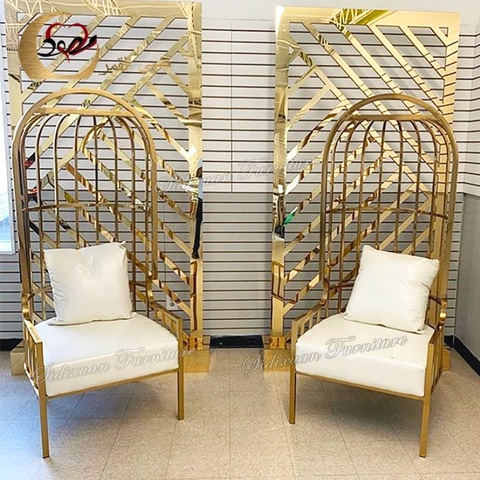 Wholesale event wedding stainless steel birdcage royal throne chairs for sale