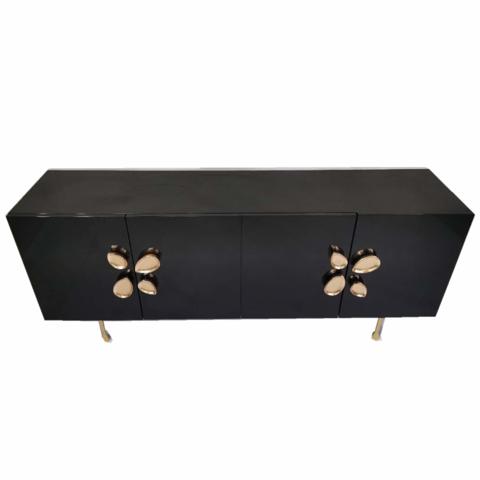Custom Interior Wooden Top Brass Frame TV Cabinet Living Room Furniture Home Luxury Decor Storage Cabinet