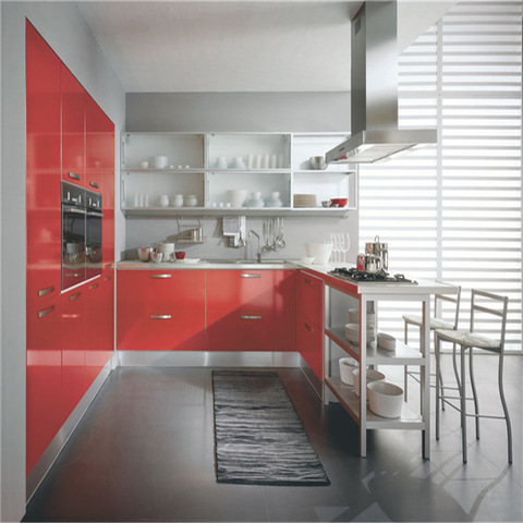 Modern U Shape High Gloss Red Lacquer Finish Mdf Kitchen Cabinet Wholesale Other Service Products On Tradees Com