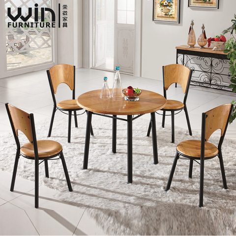 Cheap Wooden Dining Room Set Metal Leg Round Dining Table And Chair 4 Seater 6 Seater Wholesale Modern Furniture Products On Tradees Com