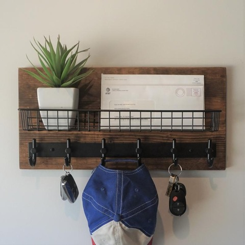 Modern Rustic Entryway Shelf With Mail, Rustic Coat Rack Wall Mounted Shelf With Hooks And Baskets