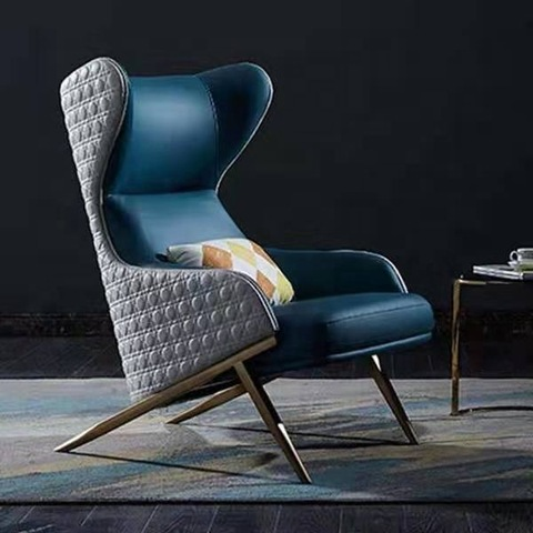 Modern High Back Wing Chair With Armrest Stainless Steel Leather Leisure Chair Sofa Accent Chair For Living Room Wholesale Modern Furniture Products On Tradees Com
