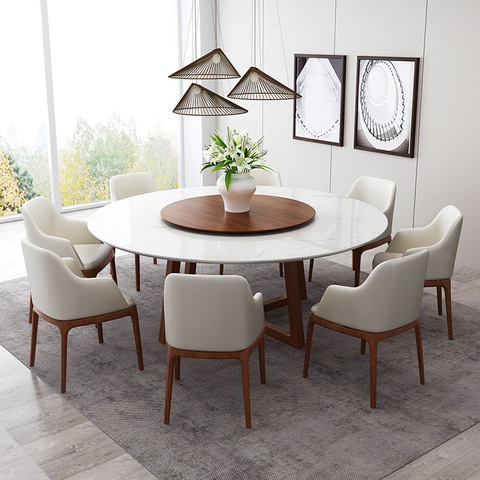 Nordic Marble Dining Table 8 People Round Turntable White Solid Ash Wood Dining Table Wholesale Modern Furniture Products On Tradees Com