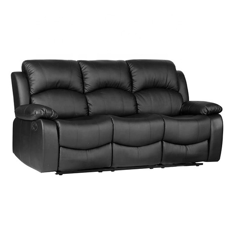 Modern black pu leather 3 seat recliner sofa set for sale