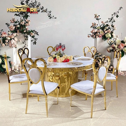 New sale dining furniture stainless steel base round white mdf wedding table pictures & photos