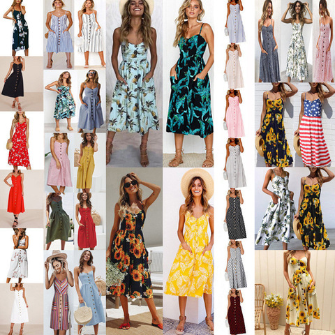 QIBU Ladies Boho Maxi Dresses Boho Dresses Women Summer Backless Ruffle Dress Spaghetti Strap pop print maxi dress