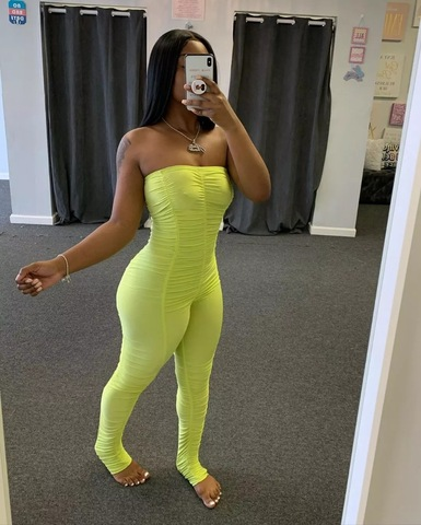 2020 New Neon Rompers Bodycon Tube Jumpsuit Women Summer Off Shoulder Backless Romper Overalls Ruched Stacked Leggings Pants Wholesale Women S Clothing Products On Tradees Com