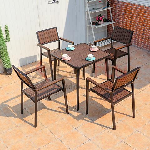Indoor Plastic Wood Dining Chair Villa Conversation Furniture Set pictures & photos