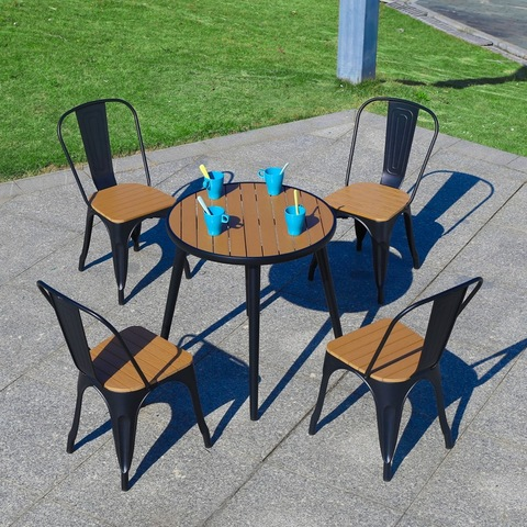 Wholesale Metal Outdoor Furniture Modern Solid Plastic Wood Dining Table Garden Coffee Chair pictures & photos