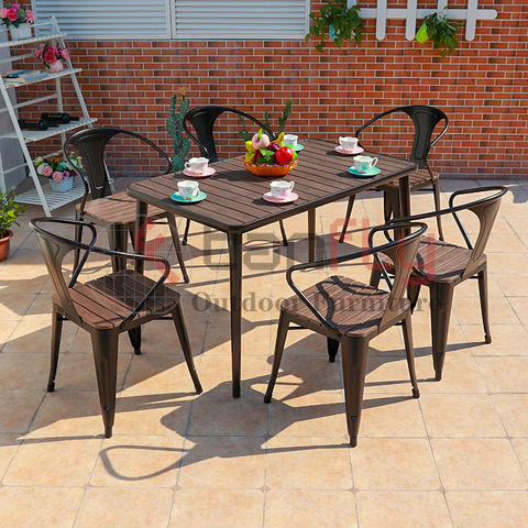 Wholesale Teak Color Plastic Wood Furniture Outdoor Coffee Set pictures & photos