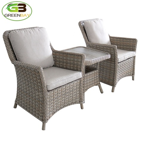 3 pieces brown wicker resin rattan outdoor furniture garden patio use waterproof fabric thick cushions set