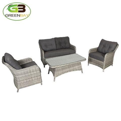 4 piece traditional classic rattan garden furniture pe wicker sofa thick cushion nice design light grey round weave set