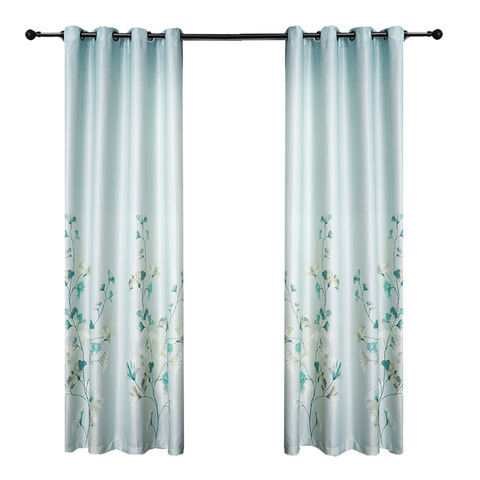 Green Flower Print 100% Polyester Window Curtains for Living Room pictures & photos