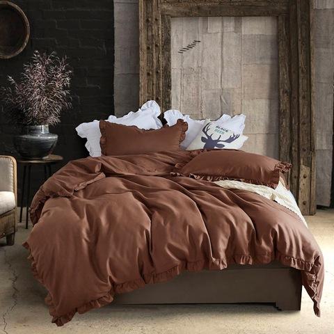 Bedroom simple design dyed solid bed sheet set morden twin size bed set