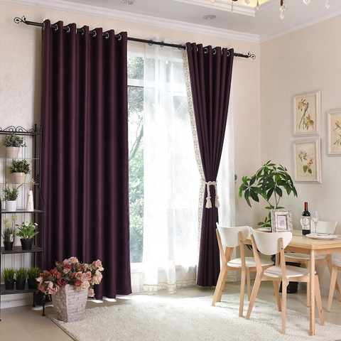 Nice price woven fabric solid high quality modern curtain for living room pictures & photos