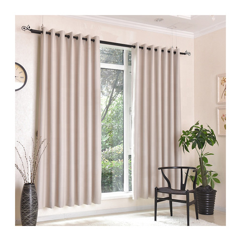Wholesale high quality shading polyester woven blackout flat window curtain